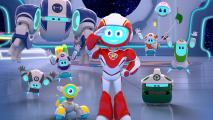 A friendly robot, in a red and white suit and a blue face, standing inside a spacecraft, surrounded by small and big robots.